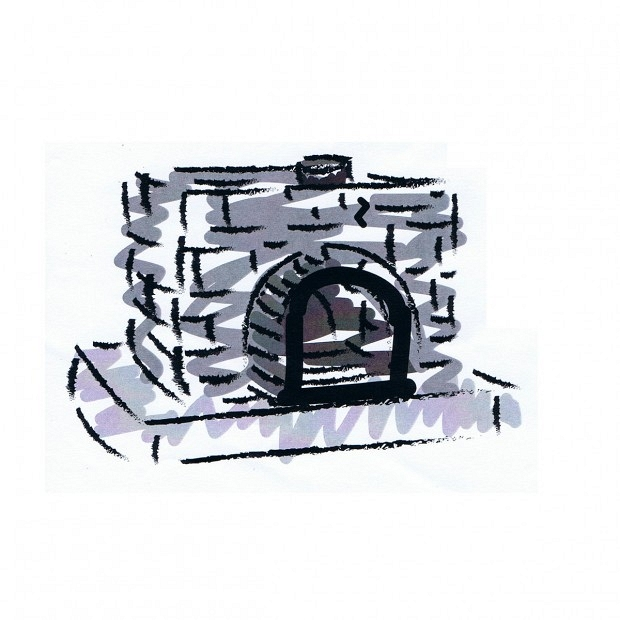 Build a brick enclosure <strong>around the oven</strong>, fill with sand and cover.